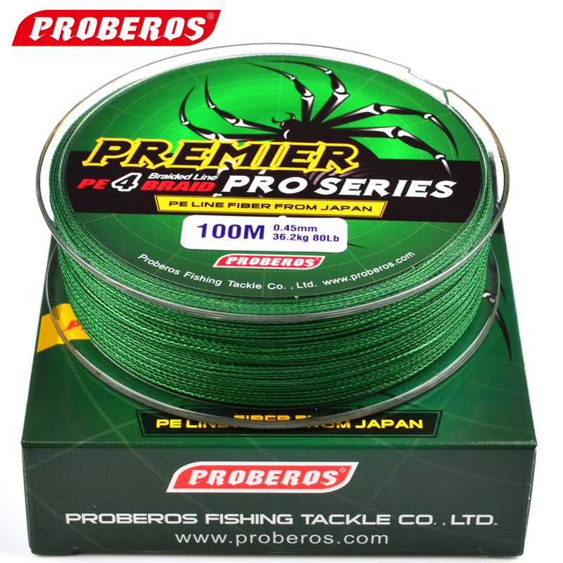 PROBEROS 100M Fishing Line Red/Green/Grey/Yellow/Blue Braided Pesca Fishing Line Available 6LB-100LB PE Line With Green Package(China (Mainland))