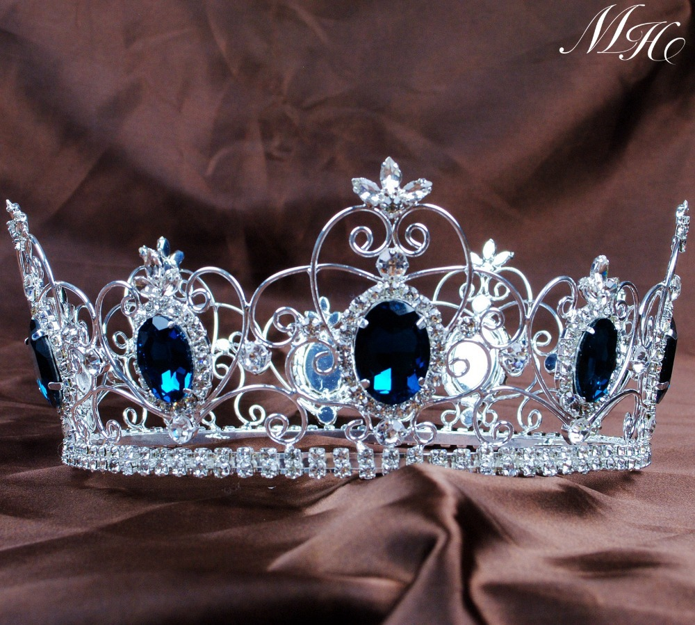 Blue Sapphire Tiaras King Queen Full Round Crowns Clear Austrian Rhinestones Crystal Wedding Bridal Pageant Party Costumes(China (Mainland))