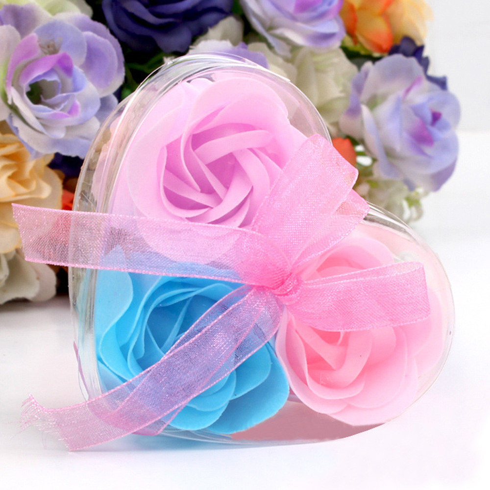 SP 15  Mosunx Business 2016 Hot Selling 3Pcs  Scented Rose Flower Petal Bath Body Soap Wedding Party Gift