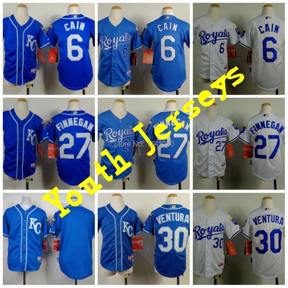 Cheap Kansas City Royals Youth Jersey, Kid's 27 Brandon Finnegan Jerseys,Black Child MLB baseball Jerseys