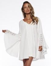 Renaissance costume v-neck flare sleeve chemise medieval white peasant blouse Gypsy Festival Hippie boho shirt cover-ups