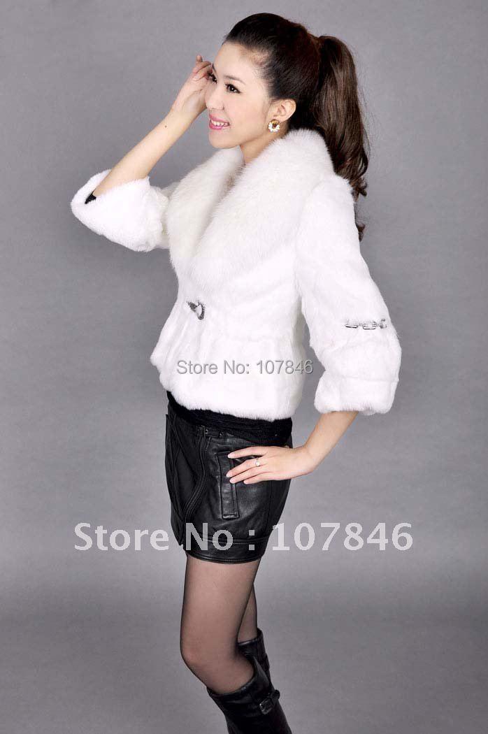 VK0005 Lady Genuine Whole-hide Rabbit Fur Jacket with Big Fox Collar Short sleeve Style Free shipping in stock OEMÎäåæäà è àêñåññóàðû<br><br>