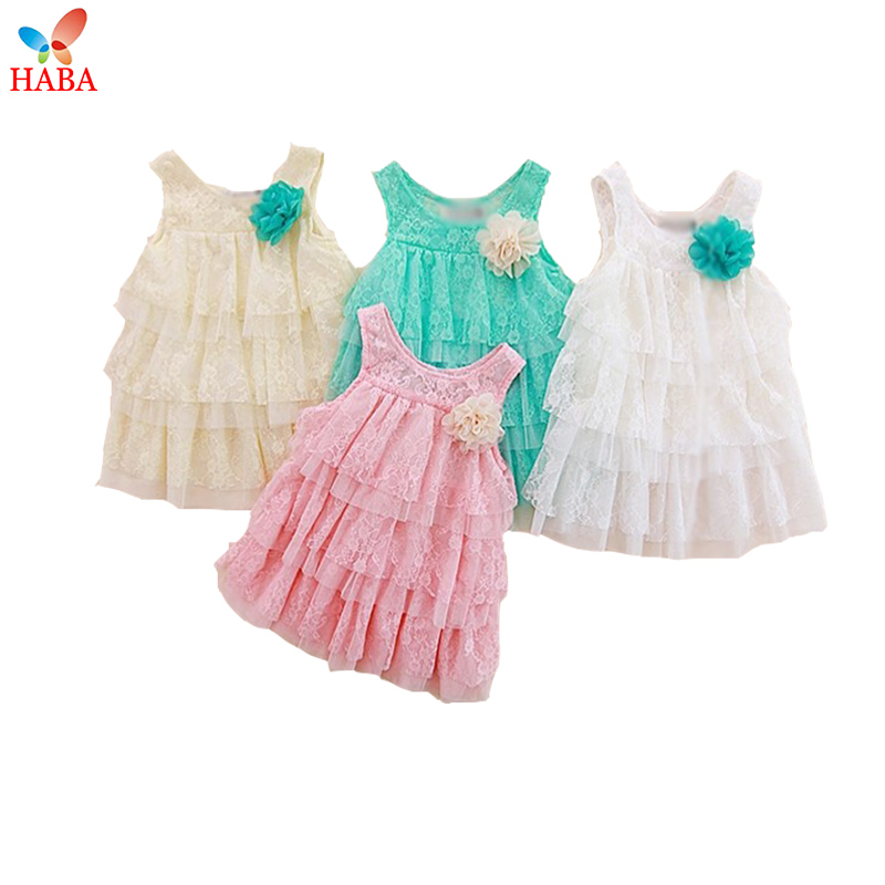HABA Fashion baby girl dress 6M-3 years,with bust- flower,lace bay clothes kids summer sleeveless dress,girl clothes HB0365(China (Mainland))