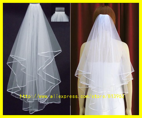 2015 Wholsale Simple White Tulle Wedding Veils Two Layer Ribbon Edge Custom Made Bridal Accesories Hot Sale(China (Mainland))