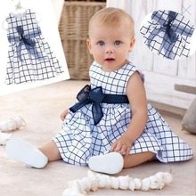 Baby Toddler Girl Kids Cotton Outfit Clothes Top Bow-knot Plaids Dress 0-3 Years(China (Mainland))