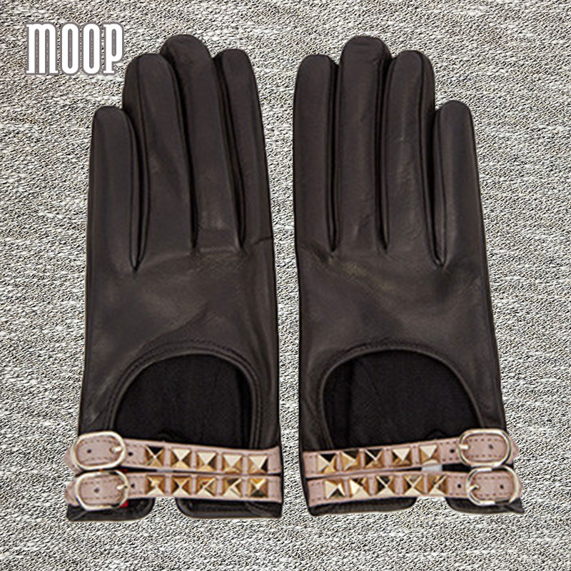 Black with gold stud genuine leather sheepskin gloves women party gloves guantes mujer luvas feminina eldiven LT318 FREE SHIP(China (Mainland))