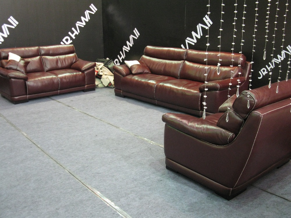 Red Color Dermal Sofa High Grade Leather Sofa 2015 New Living Room Sofa 1 2 3 Seater Feather
