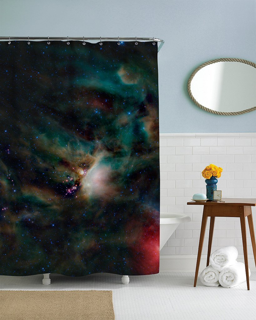 Outer space custom waterproof fashion shower curtain 60 x for 60s bathroom decor