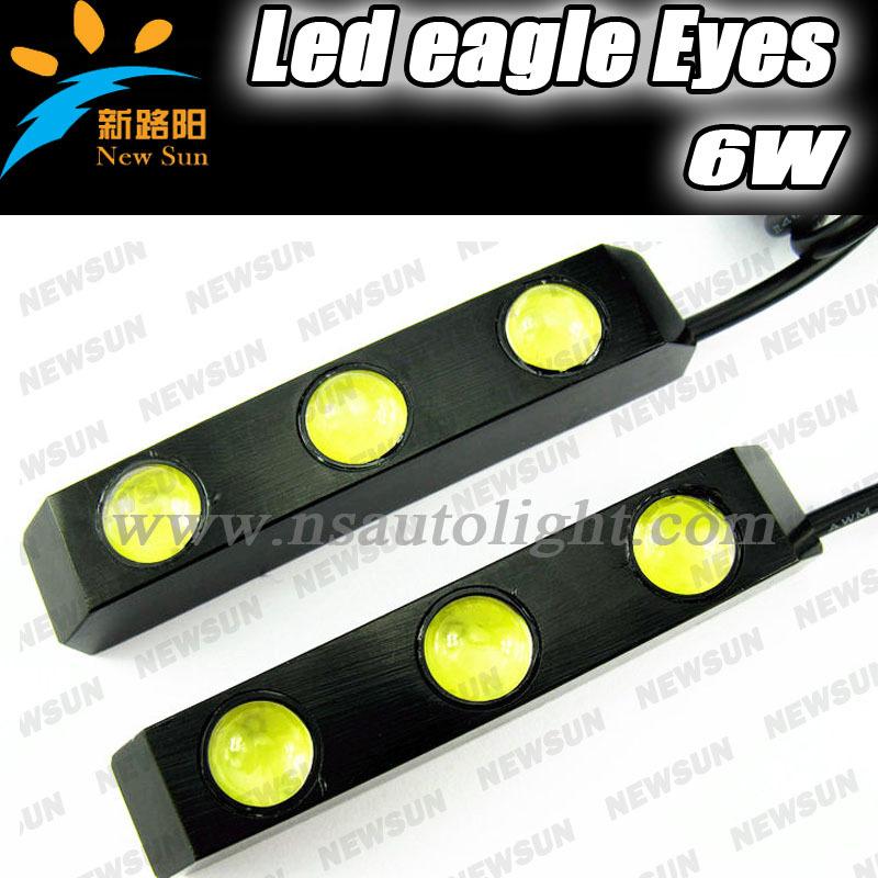 Free shipping Aluminium 2pcs 3 LED Universal Car Light DRL Daytime Running Head Lamp Super White WITH Cheap wholesale price(China (Mainland))