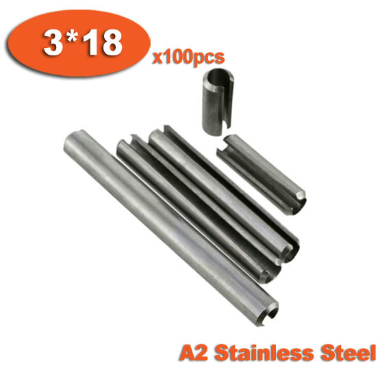 100pcs DIN1481 3 x 18 A2 Stainless Steel Slotted Spring Pins<br><br>Aliexpress