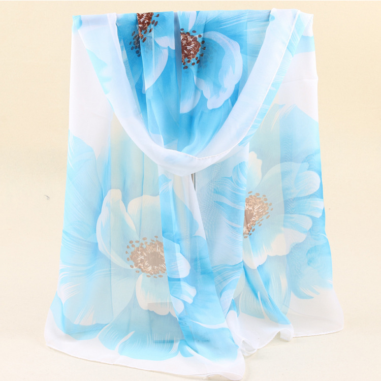 Hot sale 2016 fashion spring summer women long scarf soft flower printed women chiffon pashmina thin sun protection shawl wraps(China (Mainland))