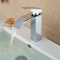 Free Shipping Wholesale And Retail Deck Mount Waterfall Bathroom Faucet Vanity Vessel Sinks Mixer Tap Cold