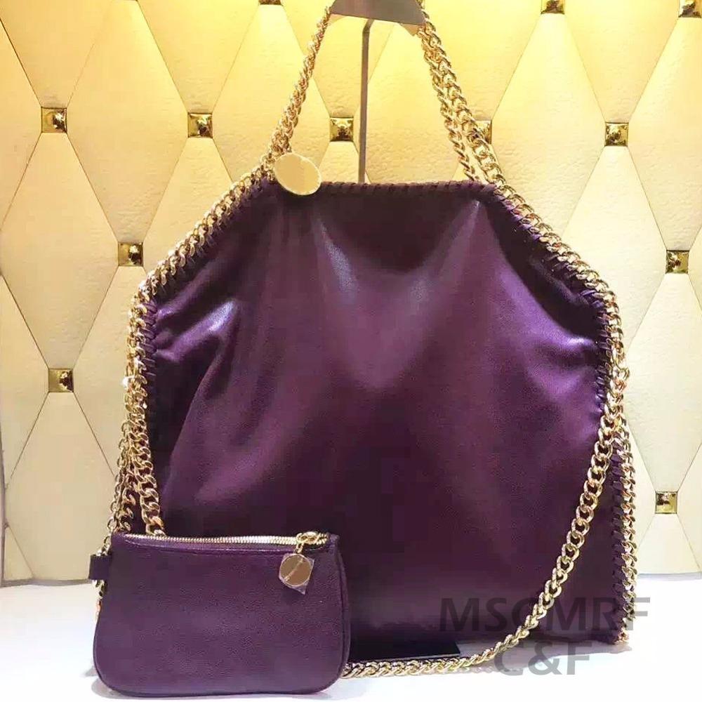 MSCMRF Fashion Stella woven chain handbag soft shaggy deer messenger bags women Goat leather shoulder bags(China (Mainland))