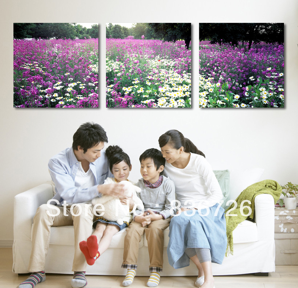 Free shipping 3 piece canvas wall art Fashion home decoration Paintings canvas flowers Paintings for living room wall(China (Mainland))
