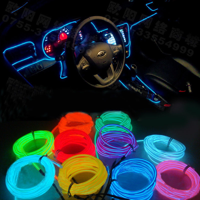 diy decoration 12v auto car interior led el wire rope tube neon light line 10. Black Bedroom Furniture Sets. Home Design Ideas