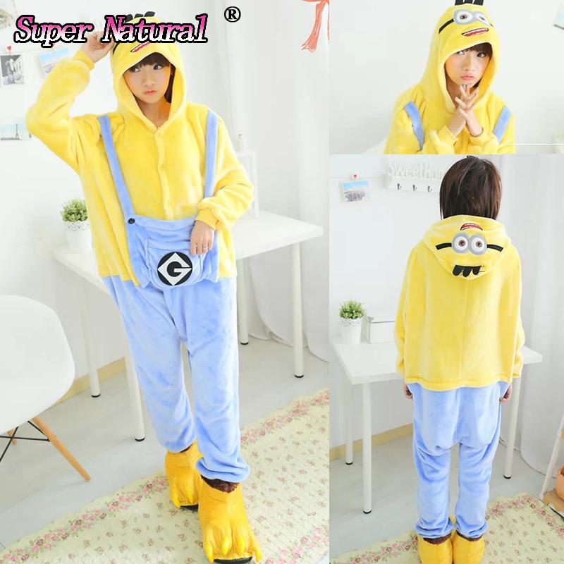 Cheap DHL Kigurumis Boys and Girls Adult Winter Warm Cartoon Animal Minions Pajamas Pijamas Onesie Cosplay Costume For Party(China (Mainland))