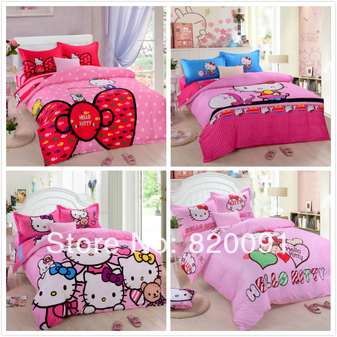 3 or 4Piece Twin Full Queen King Size Lovely Hello Kitty Bedding for Kids Girls or Adults 100% Cotton Reversible Fabric, Pink(China (Mainland))