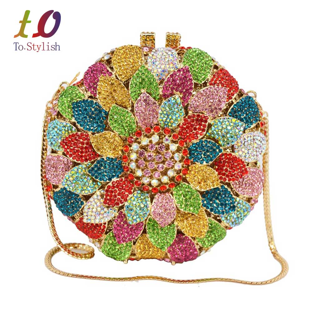 Sunflower petals india bag women bridal accessories banquet evening bag female rostone Crystal Clutch bag party purse SC202(China (Mainland))