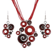 Women Best Gift Ethnic Retro Enamel African Jewelry Sets Necklace + Earrings Wedding Sets Red Color Crystal Stone Bijoux(China (Mainland))