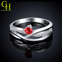 New CZ Diamond wedding rings for women ruby Jewelry 925 sterling silver ring anel feminino aneis anillos de plata anelli