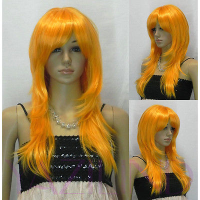 Straight Long Bright Orange Fibre Hair Cosplay Role Play Japanese Wig(China (Mainland))