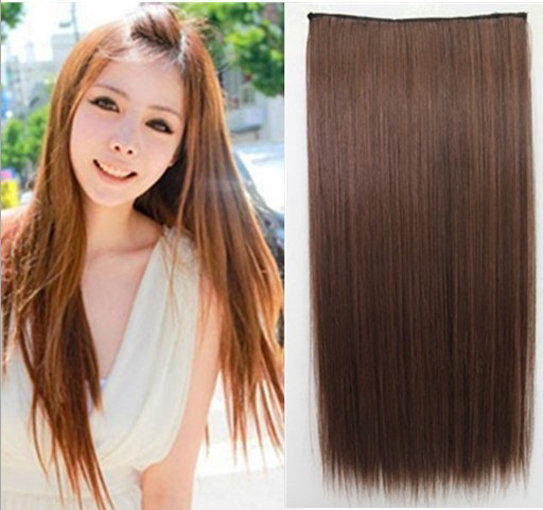 Long Straight Synthetic 5 Clips one Piece Womens Hair Extensions Clip-on(China (Mainland))