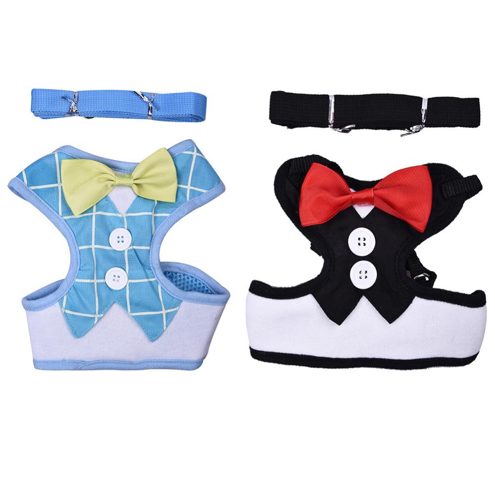 Dog Chest Harnesses Lead Leash Strap Belt For Pets Velvet Bowtie Gentleman Suit Boy Tuxedo Easy Walk Harness Vest for Cat Puppy(China (Mainland))