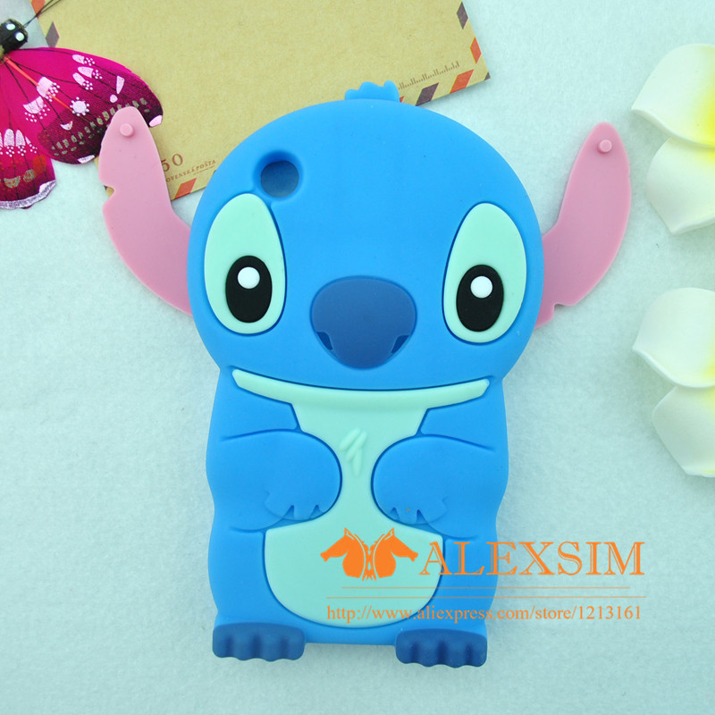 Cartoon Style Dream Skin 3D Stitch Soft Silicon Phone Case For iPhone3 3G 3GS Blue - Free Shipping(China (Mainland))