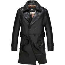 Men Genuine Leather Jacket Autumn Outerwear Black/Slim/Simple Business Style/Cowskin Long Trench Coat with Belt 15L14172(China (Mainland))