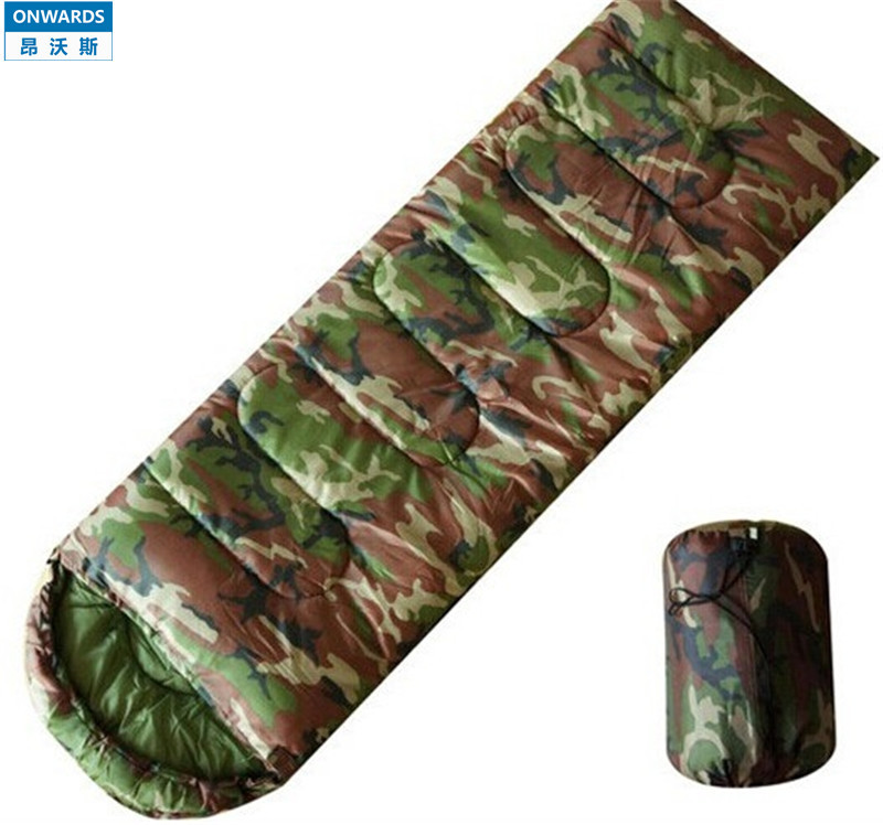 ONWARDS Cotton Camping Sleeping Bag -10~ 0 Degree Envelope Style Sleep Bags Army Military Green Camouflage Cotton Bag Of Sleep(China (Mainland))