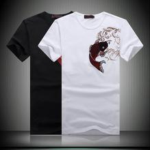 2015 Summer New men's Korean short-sleeved T-shirt Personalized Carp pattern Fashion casual and simple All-Purpose t shirt men