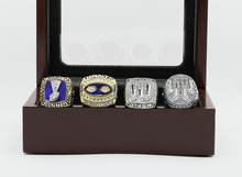 One Set (4PCS) 1986 1990 2007 And 2011 New York giants Super Bowl Football Championship Ring Size 10-13 With Wooden Box(China (Mainland))