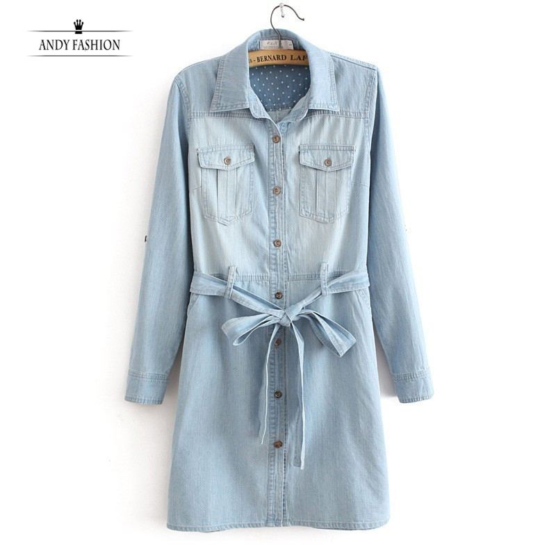Elegant Women Denim Dresses 2015 Long Sleeve Sexy Ladies Solid Pocket Jeans