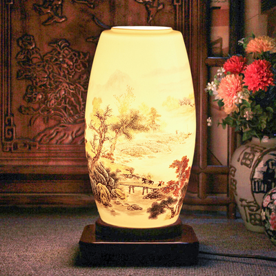 Traditional Chinese Ceramic Table Lamp Country Style Study Room Porcelain Desk Lamp Made From Capital Of Porcelain Jingdezhhen(China (Mainland))