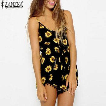 ZANZEA Fashion 2017 Sexy Women Straps Sunflower Print Playsuit Casual Vintage Short Rompers Womens Jumpsuit Plus Size S-XXL