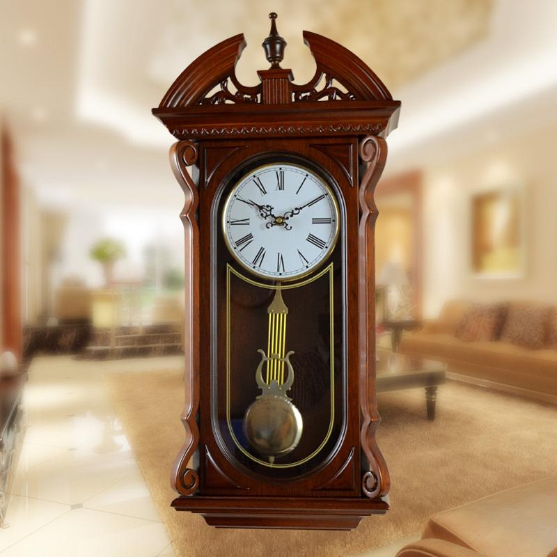 European high-grade retro wall clock fashion living room clock quartz wall clock large wooden shipping(China (Mainland))