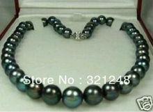 """Free shopping new 2014 diy Natural AAA 9-10mm Tahitian Black Pearl Necklace 18"""" GE4574(China (Mainland))"""