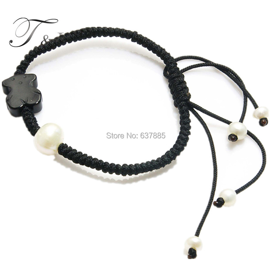 Free shipping! Real freshwater pearl paracord withe bear bangle bracelets for girls and women jewelry. Christmas wholesale(China (Mainland))