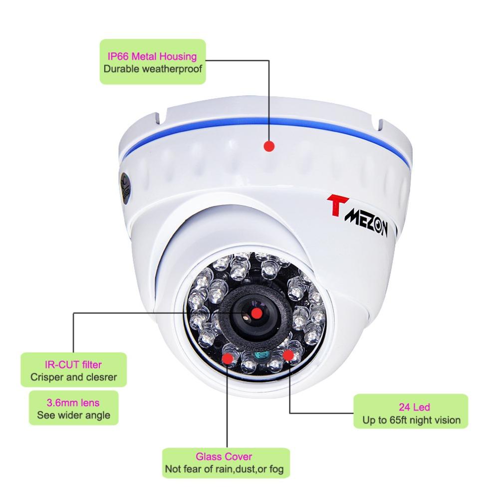 Tmezon 800TVL 1/4 inch CCTV Security Camera IR Cut Day Night Vision Indoor Outdoor Dome Home Surveillance - TMEZON store