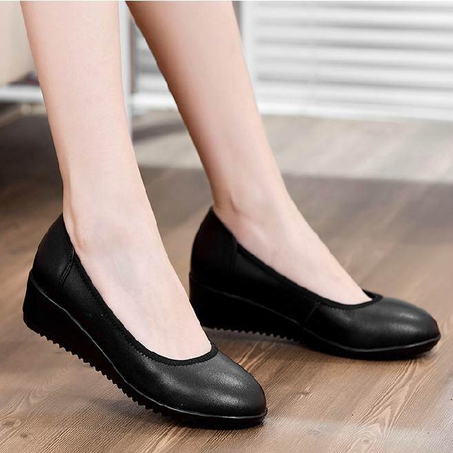 flats work shoes black genuine leather shoes