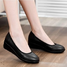 Women flats work shoes black women genuine leather soft outsole wedges casual plus size 37 38 39 40 41 42 43 - MO Genuine Leather Shoes Outlets store