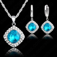 Hottest 925 Sterling  Silver Crystal Necklace Jewelry Set ,Colorful Crystal Rhinestone Necklace Earring Jewelry Promotion Price(China (Mainland))