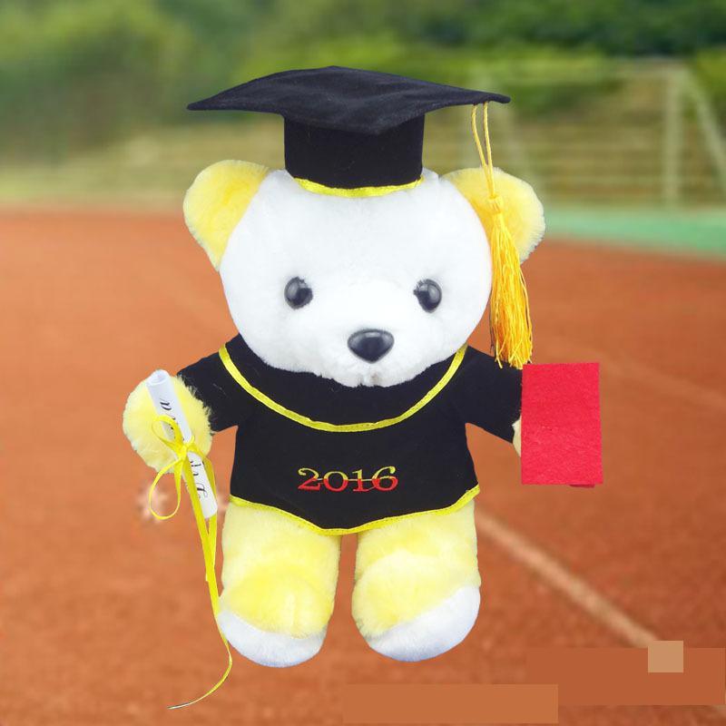 2016 20CM College Students Tactic Dr. Bear Uniform Bear Plush Toys Soft Stuffed animal Graduation doll Friend Gift Good Quality(China (Mainland))