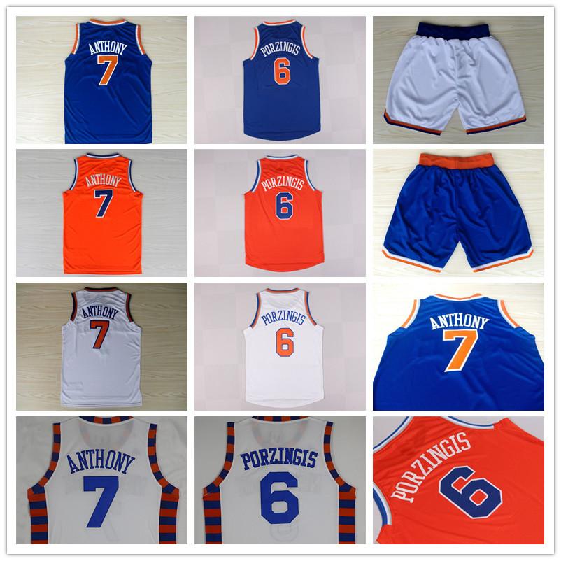 Kristaps Porzingis #6 Carmelo Anthony #7 Basketball Jersey, Men's Top Quality Stitched Logos Basketball Jersey Free Shipping(China (Mainland))