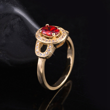 High Quality 18K Gold Plated Ruby Finger Rings Elegant Brand Jewelry CZ Diamond Austrian Crystal For