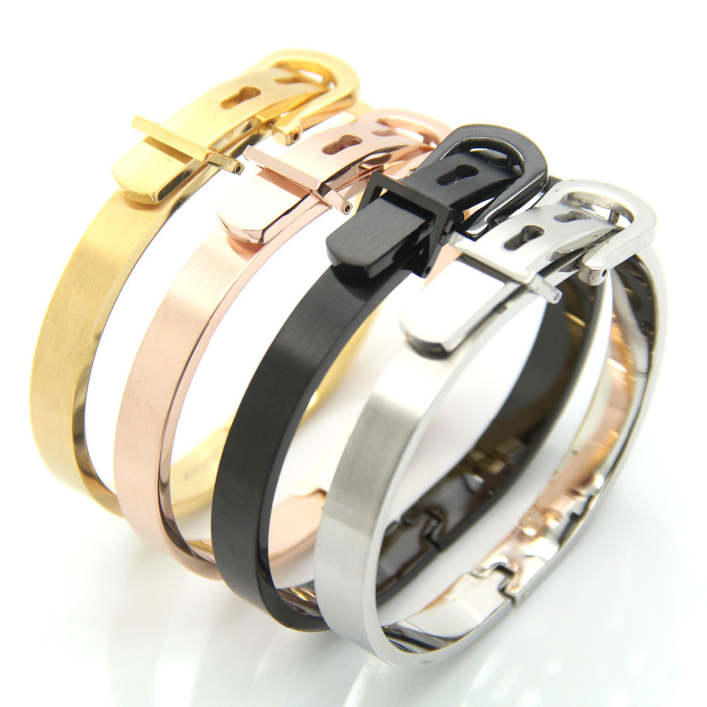 Classic buckle series bracelet for Women Stainless Steel bangle Silver /Rose Gold /18K Fashion Charm Bijoux fine Jewelry<br><br>Aliexpress