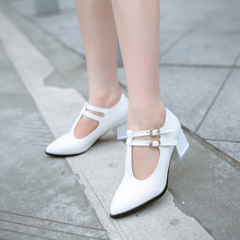 2015 leisure elegant women shoes pointed toe square heel double T strap PU leather women pumps