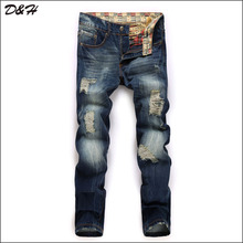 2016 Arrival New Designer Jeans Men,Character Ripped Holes Casual Men's Jeans Pants,100%Cotton,Two Colors Large Size 28-38,XA772(China (Mainland))