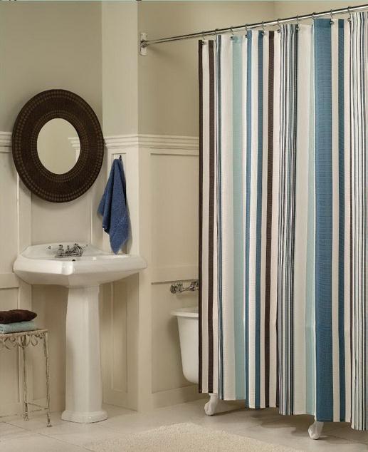 Cortinas De Baño Por Mayor:Blue and Tan Striped Shower Curtain