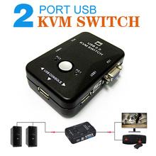 Portable USB 2.0 KVM 2 Portas VGA Selector de Impressão Auto Switch Box Controlador 1920*1440(China (Mainland))